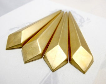 Brass Geometric Facet Long Diamond Drop Pendants (4X) (M690)