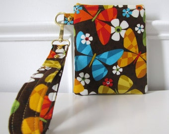 Butterfly Floral Wristlet Zipper Pouch Small Pouch