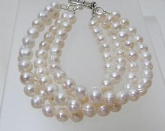 4 Strand Freshwater Pearl Bracelet