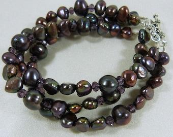 Dark Purple Iris Freshwater Pearl 3 Strand Bracelet