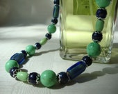 Blue Lapis and Green Turquoise Necklace