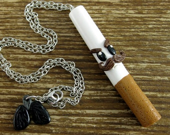 Angry Cigarette Polymer Clay Necklace