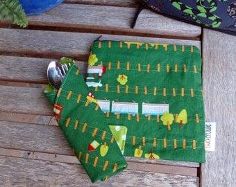 Lunchbox Set - Napkin and Sandwich Bag - Train Tracks (#005)