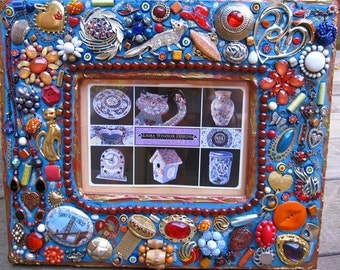 Vintage Jewelry Mosaic Mixed Media Blue Orange 5x7 Frame