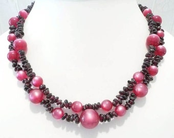 Garnet Moonglow Double Strand Necklace