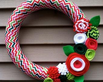 Christmas Wreath, Modern Wreath,  Christmas Chevron Ribbon, Felt Flower Wreath, Holiday Wreath, Christmas Wreath, Ribbon Wreath, Chevron