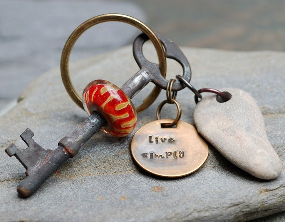 Skeleton Key Boro Glass Beaded Keychain Handstamped Tag, Drilled Sea Stone, Live Simply