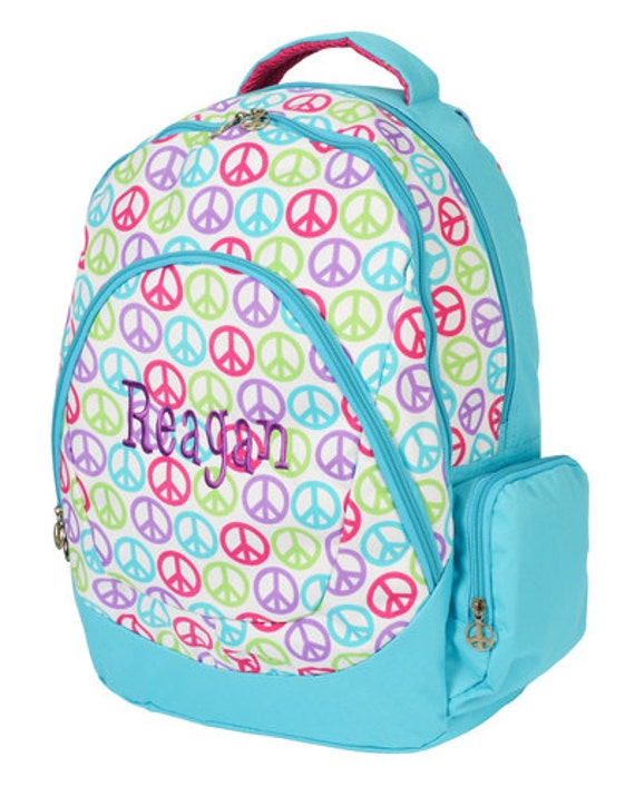 Monogrammed Big School Age Backpack- FREE SHIPPING - Peace Signs