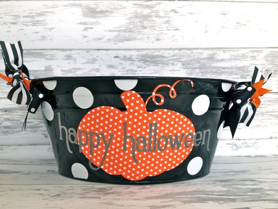 Halloween tub with orange and white polka dot pumpkin - halloween saying on the front - family name on the back -halloween decor-candy tub