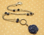 SALE - - Carved Sodalite Flower Necklace