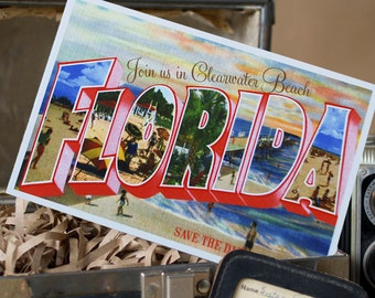 Vintage Large Letter Postcard Save the Date (Clearwater Beach, Florida) - Design Fee