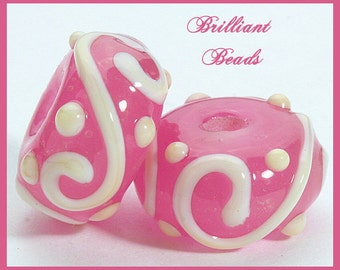 Pretty In Pink- Pink & White Scrollwork Glass Beads- Handmade Lampwork Pair SRA, Made To Order