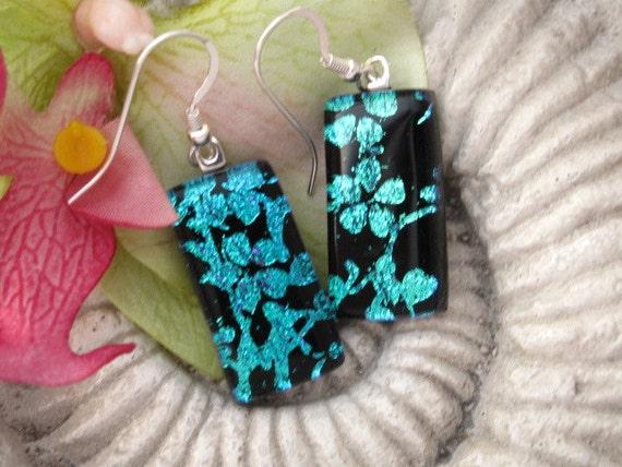 Cherry Blossom - Dichroic Earrings - Dichroic Jewelry - Dichroic Glass Jewelry - Earrings - Sterling Earrings 080812e100