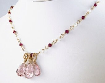 SALE - Ruby, Rose Quartz, Rainbow Moonstone and Lepidocrosite gemstone charm Necklace -Carina
