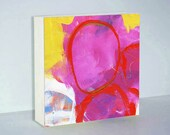 Modern Art Red Abstract Painting - Small Abstract Wood Block Print Featuring Red, Pink and Yellow Textures - Art on Wood