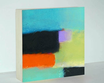 Abstract Canvas Art on Wood Block with Turquoise, Seafoam Green, Black and Orange - 6x6, 8x8 or 10x10