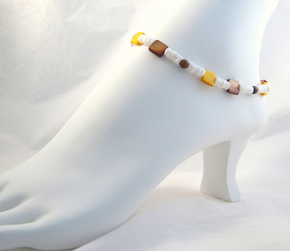 Beaded Shell Ankle Bracelet Boho Anklet Peace Sign Summer Fashion Foot Jewelry