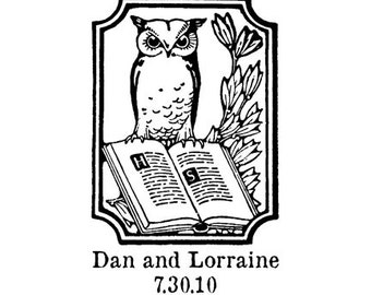 Wedding save the date owl custom rubber stamp