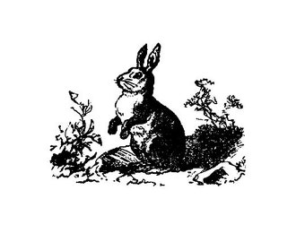 CLEARANCE Vintage bunny rabbit image Rubber Stamp