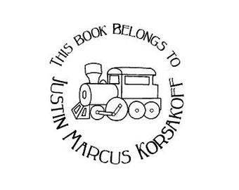 Custom Choo Choo Train Ex Libris This Book Belongs to Rubber Stamp Bookplate