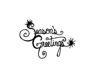 CLEARANCE Season's Greetings Stamp Rubber Stamp Seasons