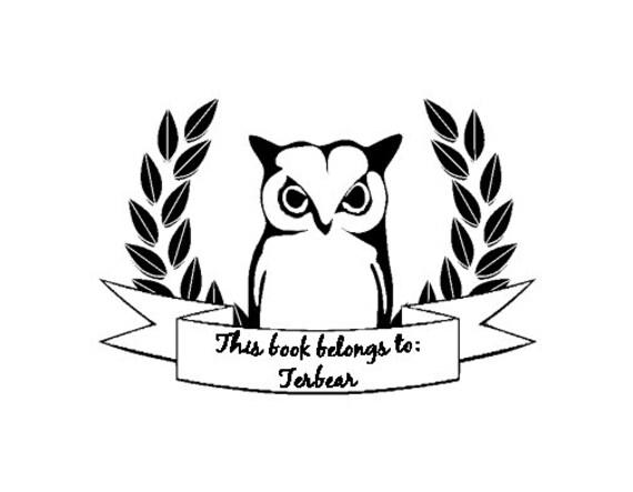 owl with laurel leaves wreath ex libris bookplate custom rubber stamp