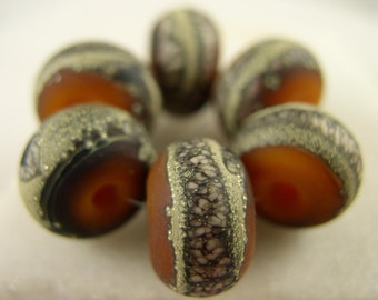 Organic Mesh - Creamsicle - Lampwork Beads (6) - Libelula Designs, SRA