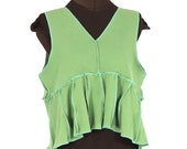 petalista - green and aqua blue cotton reconstructed layering vest - medium / large