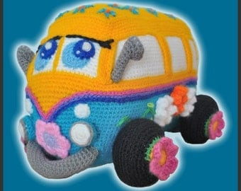 Amigurumi Pattern Crochet Hippie Flower Power Bus DIY Instant Digital Download PDF