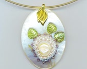 Mother of Pearl Pendant . Beaded Pearl Flower . Lime Green Glass Leaf . Statement White Pendant - Delicate Flower by enchantedbeads on Etsy