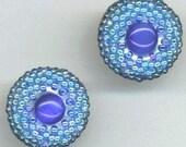 Beaded Earrings . Royal Blue . Post Earrings . Cat's Eye Cabochons . Beadwoven Earrings - Sky, Ocean and Chic by enchantedbeads on Etsy