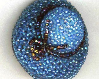 Blue Hat Beadwoven Brooch . OOAK Melbourne Cup . Beaded Hat Bead Lace & Ribbon . Classy Sun Hat - Love the Blue Sky by enchantedbeas on Etsy