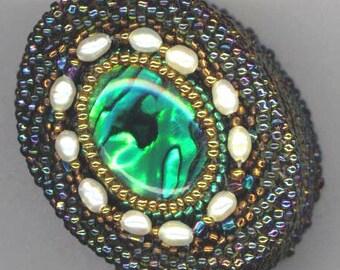 Beaded Beadwoven Box . Jewelry Box . Green Oval Paua Shell . Mother of Pearl Box - Emerald Keepsakes by enchantedbeads on Etsy