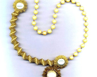 Beadwoven Necklace . Beaded Flowers . Large Faux Pearls . OOAK One Of a Kind Cellini Necklace - Golden Elegance by enchantedbeads on Etsy