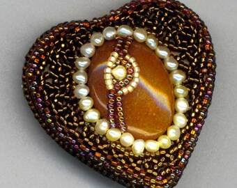Beadwoven Brooch . Beadwoven Caramel Carnelian Stone. Romantic Love. One of a Kind Pearl Brooch -Valentine's Heart by enchantedbeads on Etsy