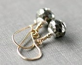 Pyrite Earrings 14K Gold Fill and Sterling Silver Mixed Metal Metallic Gemstone Jewelry Fashion Gift - Mecca