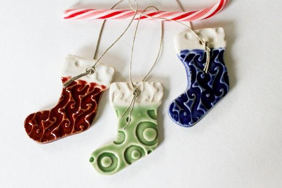 Christmas Stocking Ornaments - Set of Three