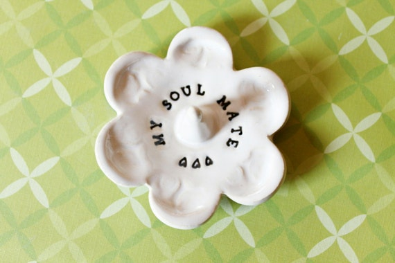 Soul Mate  White Ring Dish Bowl