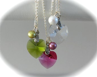 NEW - Swarovski heart pendant and pearl on sterling silver Chain necklace