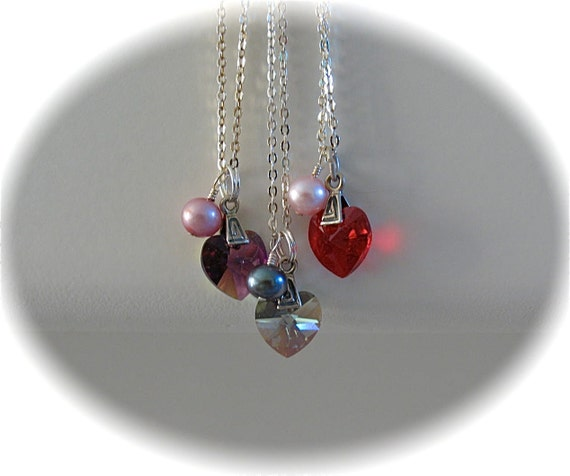 Swarovski heart pendant and pearl on sterling silver Chain necklace