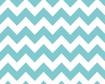 Riley Blake Designs, Medium Chevron Aqua Fabric - Half Yard