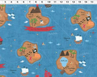 SALE/CLEARANCE Jamie Wood, Shiver Me Timbers, Pirate Map Blue Fabric - By the Yard