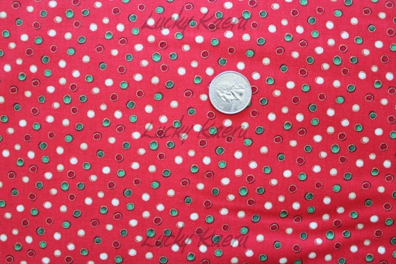 NEW Makower Christmas 2012 Dots on Red Fabric - By the Yard