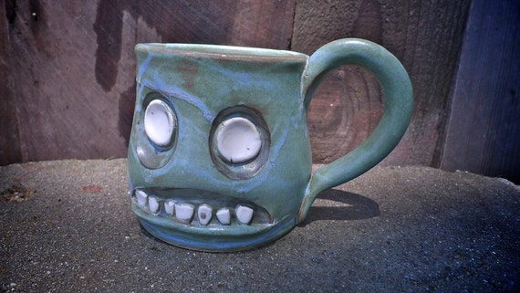 hand thrown, ceramic,  Zombie mug