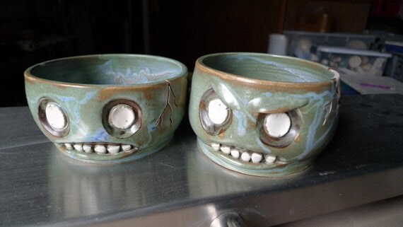 Hand thrown stoneware Zombie bowls--RESERVED--