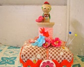 Vintage Cute Kokeshi on Spool Pin Cushion
