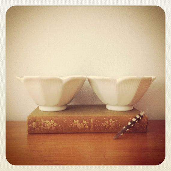 RESERVED FOR traci ---- vintage lotus bowl - Lotus Cups - Vintage Creamy White Shabby Chic Decorative Cups - bowl