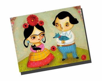SET of 5 POSTCARDS Frida Kahlo and Diego with BLUE dog from painting note cards