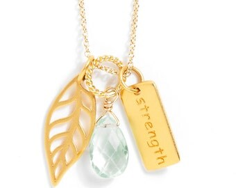 Gold-plated Charm Necklace - Strength, Leaf, Gemstone Dangle