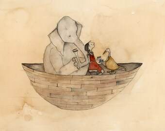 girl in boat with elephant and goose.